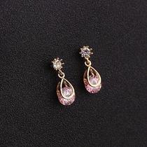 Joyería Aretes Dorado Con Piedra Tipo Cristal Rosa- Je125