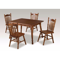 Conjunto Mesa E 4 Cadeiras Em Madeira De Pinus, Retangular