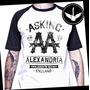 Camiseta Raglan Asking Alexandria Banda Rock Baby Look Metal