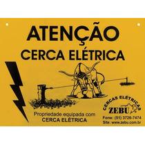 Kit 10 Placas De Aviso Cuidado Cerca Elétrica Rural Zebu