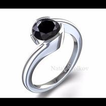 Anillo De Compromiso Con Diamante Negro .60ct En Oro 14k