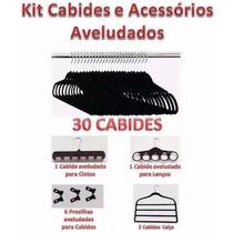 30 Cabides Aveludados Antideslizante + 10 Acessórios