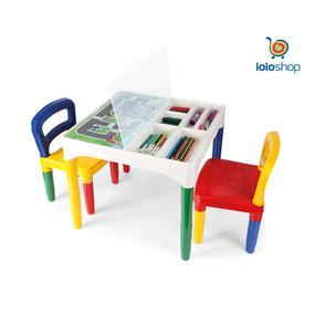 Mesinha Didática Infantil Poliplac 2 Cadeiras E 6 Adesivos