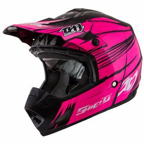 Capacete Motocross Trilha Pro Tork Th1 Shield Preto E Pink