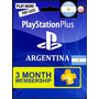 Psn Plus Card 3 Meses Ps3 Ps4 Vita Para Argentina