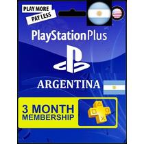 Psn Plus Card 3 Meses Ps3 Ps4 Vita Para Argentina