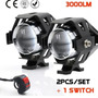 Kit 2 Luces Auxiliar Led Cree U5 3000lm +potente C/ Switch