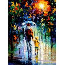 Rainy Walk With Daddy- Pintura Al Oleo Del Maestro L.afremov