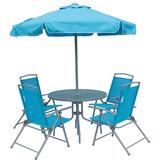 Jogo Guarda Sol 4 Cadeiras Mesa Praia Miami Azul Bel