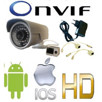 Câmera Ip 2.0mp 720p Onvif Externa Hd + Injetor Poe + Fonte