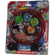 Kit 4 Beyblades Com Luz Mini Arena 2 Lançadores Tornado