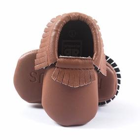 Sapato Bebê Mocassim Franjas Em Couro Eco Marrom - Importado