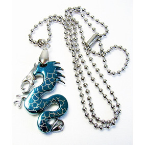 Colar E Pingente Amuleto Aço Inox Dragão Azul Unissex