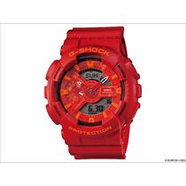 Relogio Casio Ga-110ac-4a Vermelho-red Ana-digi Crono Alarm