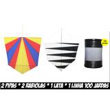 Kit Pipa - 2 Pipas - 2 Rabiolas - 1 Linha - 1 Lata Pequena