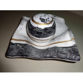Prato Lenço Decorativo De Cerâmica Com Bola Linda Peças
