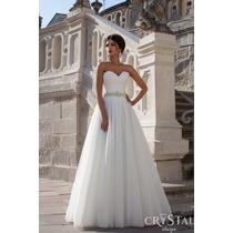 Vestido De Novia Strapless Corte Princesa Cintillo