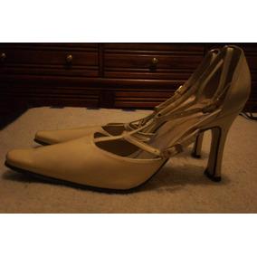 Zapatos Beige Nacarado Talla 3 1/2 Tacon 8 Cms