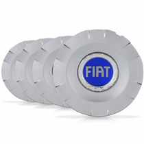 Jogo 4 Calota Centro Miolo Roda Stilo Aro 15 Fiat Azul