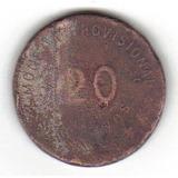 20 Centavos 1915 Oaxaca Jaspe De Plata Muy Rara Y Escasa Hm4