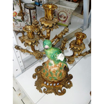 Candelabro 03 Velas Passaro Porcelana E Bronze