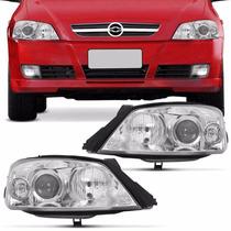 Farol Astra Hatch 2003 A 2012 Foco Duplo Máscara Cromada