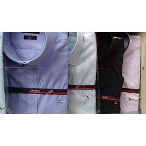 Kit Com 3 Camisas Social Aramis Lisa Masculina Várias Cores