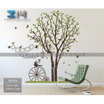 Vinilo Decorativo Arbol, Jaulas, Pájaros, Marcos Y Bicicleta