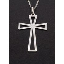 Colar Gargantilha Corrente 50cm Pingente Crucifixo Prata 925