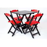 Jogo Mesa 70x70 Dobravel 4 Cadeira Restaurante Sorveteria
