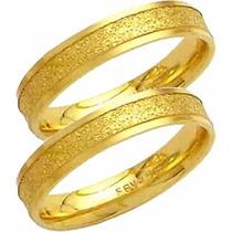 Par Aliança De Casamento Fosca Reta Trabal Ouro 18k-al118 Co