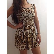 Vestido Curto Onça Oncinha Leopardo Pronta Entrega
