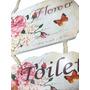 Placa Banheiro Sinaliza Decorativa Madeira Toilete Dama