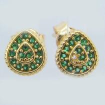 1611 Brinco De Ouro Rpw Joias 18k-750 Esmeralda