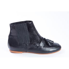 Natacha Zapato Mujer Bota Mocasin Reptil Negro #232
