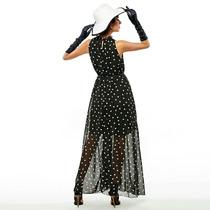 Vestido Feminino Longo Bolinhas Para Festas Cor Vinho Lindo