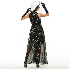 Vestido Feminino Longo Bolinhas Para Festas Cor Preto Lindo