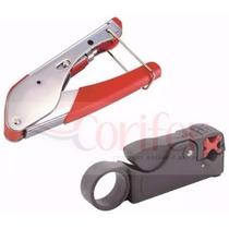 Kit Decapador Alicate Compressão Crimpar Coaxial Rg6 Rg59