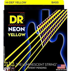 Encordoamento P/ Baixo De 5 Cordas Dr Neon - Amarela .45