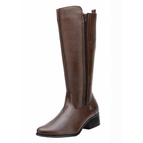 Bota Feminina Montaria Art Shoes Couro Preta E Chocolate