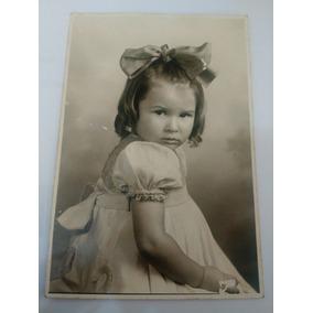 Fotografia Antiga ( Menina De Laço Anos 40) 12,5 X 8 C