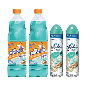 Mr Musculo Limpiapisos Glade Paraiso Azul X2+ Glade Spray X2