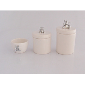 Urso Kit Higiene Potes Cumbuca E Alcool Gel Bebê Ceramica 4