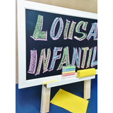 Lousa Infantil - Quadro Negro Tripé C/apagador+ Gíz Colorido