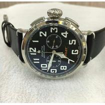 Relógio Znith Pilot Quartz Prata Mostrador Preto