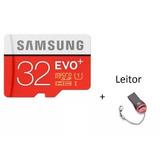 Cartão Evo Sansung Micro Sd De 32gb 80mb/s+ Leitor Micro Sd