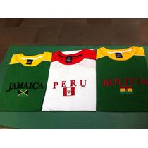 Camisetas Da Bolívia, Perú, Jamaica. Bordadas