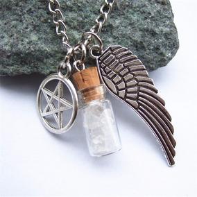 Supernatural Colar Proteção Sal Grosso Pentagrama Asa Anjo