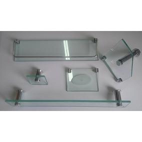 Acessório Banheiro Kit 5 Pçs Vidro Retangular - Frete Gratis