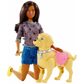 Barbie Original Com Cachorro Anda Faz Coco Negra Grace Nikki
